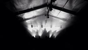 Monocromatic举手的愉快的人民音乐会剪影  免版税库存图片