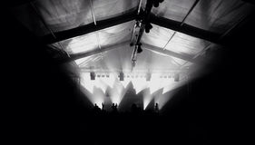 Monocromatic concert silhouettes of happy people raising up hand Royalty Free Stock Image