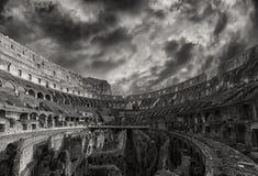 Monocromatico interno di Roma Colosseum Fotografie Stock Libere da Diritti