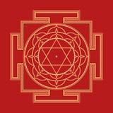 Monocrome outline Bhuvaneshwari yantra illustration Stock Images