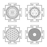 Monocrome outline hindu yantra illustrations set Royalty Free Stock Photo
