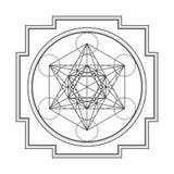 Monocrome outline metatron cube yantra illustration Royalty Free Stock Image