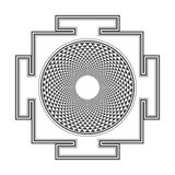 Monocrome outline Sahasrara yantra illustration Stock Images