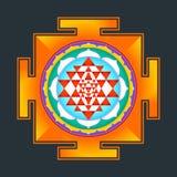 Monocrome outline Sri yantra illustration Stock Image