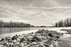 Monocrome Winter River Landscape Royalty Free Stock Photo