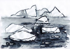 Monocromio del paesaggio con l'iceberg Fotografie Stock Libere da Diritti