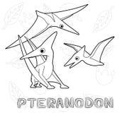 Monocromio dell'illustrazione di vettore del fumetto di Pteranodon del dinosauro Fotografie Stock