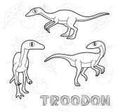 Monocromio dell'illustrazione di vettore del fumetto di Troodon del dinosauro royalty illustrazione gratis