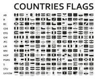 Monocromio in ordine alfabetico messo o bandiere nere del mondo con gli emblemi ufficiali e dettagliati Fotografia Stock