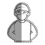 Monocromo de la etiqueta engomada borroso de pirata informático criminal ilustración del vector