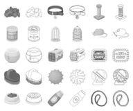 Monocromo de la tienda de animales, iconos del esquema en la colección determinada para el diseño Las mercancías para la web de l libre illustration
