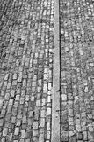 Monocromo de las pavimentadoras del ladrillo Imagenes de archivo