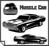 Monocromo del cartel del vector del coche del músculo ilustración del vector