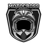 Monocromo del casco del motocrós Imágenes de archivo libres de regalías
