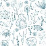 Monocromo inconsútil attern con los corales exhaustos de la mano marina y los organismos vivos stock de ilustración