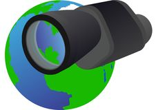 Monocular and Planet Earth Royalty Free Stock Photo
