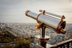 Monocular telescope at Eiffel Tower. In Paris, France Royalty Free Stock Photography
