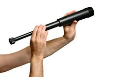 Monocular - telescope in man's hands Royalty Free Stock Photo