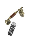 Monofones do telefone retro e de um telefone sem fios Imagens de Stock