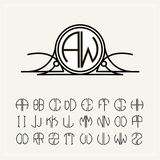 Monogram, an art nouveau label with two letters inscribed in the circle. A set of alphabet to fit in a circle. Can be stock illustration