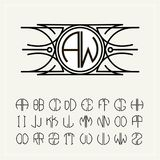 Monogram, an art nouveau label with two letters inscribed in the circle. A set of alphabet to fit in a circle. Can be royalty free illustration