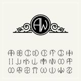 Monogram, an baroque label with two letters inscribed in the circle. A set of alphabet to fit in a circle. Can be used stock illustration