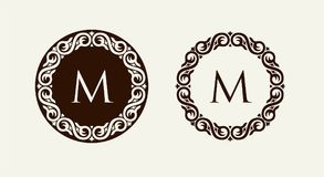 Monogram in baroque style floral ornament. Can be used for logos, wedding designs. royalty free illustration