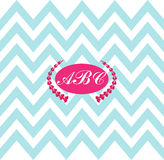 Monogram chevron preppy pattern pink blue white Stock Images