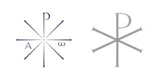 Monogram of Christ symbol. Two vector illustration of monogram of Christ Stock Photo