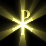 Monogram of Christ symbol light flare. Monogram of Christ (the Chrismon, the Labarum, Chi-Rho sign) with powerful sunlight halo. Extended flares for cropping Stock Photos