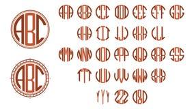 Monogram circle letters. Art Deco style royalty free illustration