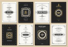 Monogram creative cards. Template with beautiful flourishes ornament elements. Elegant design for corporate identity, invitation. Design of background products vector illustration