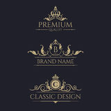 Monogram with crown. Premium borders set. Graphic design pages, business sign, boutiques, cafes, hotels, invitations. Royal design elements royalty free illustration