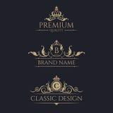 Monogram with crown. Premium borders set. Royalty Free Stock Image