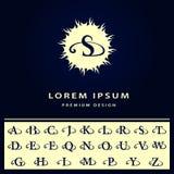 Monogram design elements, English letters. Calligraphic elegant line art logo design. Retro Vintage Insignia or Logotype. Business Stock Image