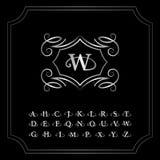Monogram design elements, English letters. Elegant line art logo design. Silver emblem W. Business sign, identity for Restaurant, Stock Photos