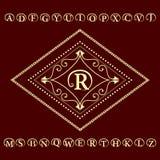 Monogram design elements, English letters emblem. Calligraphic elegant line art logo design.  Business sign, identity for Restaura Royalty Free Stock Photography