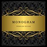 Monogram design elements, graceful template. Calligraphic elegant line art logo design. Gold frame with abstract decorative black Stock Photo