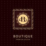 Monogram design elements, graceful template. Calligraphic elegant line art logo design. Letter emblem B. Business sign for Royalty Stock Photography