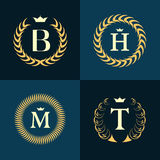 Monogram design elements, graceful template. Calligraphic elegant line art logo design. Letter emblem B, H, M, T for Royalty, busi Royalty Free Stock Photos