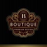 Monogram design elements, graceful template. Calligraphic Elegant line art logo design Letter emblem B identity for Restaurant Stock Image