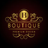 Monogram design elements, graceful template. Calligraphic Elegant line art logo design Letter emblem B identity for Restaurant, Ro Royalty Free Stock Image