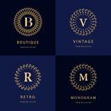 Monogram design elements, graceful template. Calligraphic elegant line art logo design. Letter emblem B, R, M, V for Royalty, busi Stock Photos