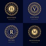 Monogram design elements, graceful template. Calligraphic elegant line art logo design. Letter emblem B, R, M, V for Royalty, busi Stock Images