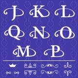 Monogram design elements, graceful template. Calligraphic elegant line art logo design. Letter emblem J, K, L, Q, N, O, M, P on a Royalty Free Stock Photo