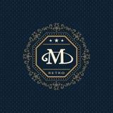 Monogram design elements, graceful template. Calligraphic elegant line art logo design. Letter emblem M. Business sign for Royalty Royalty Free Stock Photos
