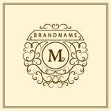 Monogram design elements, graceful template. Calligraphic elegant line art logo design. Letter emblem M for Royalty, business card Royalty Free Stock Photos