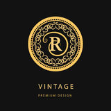 Monogram design elements, graceful template. Calligraphic elegant line art logo design. Letter emblem R for Royalty, business card Royalty Free Stock Photography