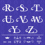 Monogram design elements, graceful template. Calligraphic elegant line art logo design. Letter emblem R, S, T, U, V, W, Y, Z on a Royalty Free Stock Photo