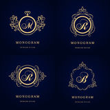 Monogram design elements, graceful template. Calligraphic elegant line art logo design. Letter emblem sign B, M, R for Royalty, bu Stock Photography
